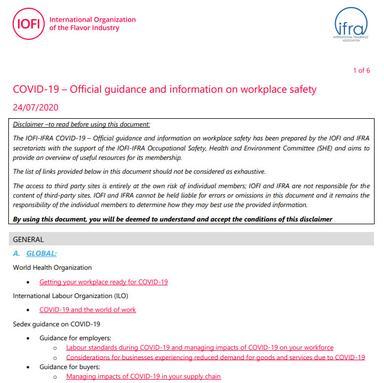 Covid-19 : une compilation des lignes directrices sur la sécurité des lieux de travail par l'IFRA