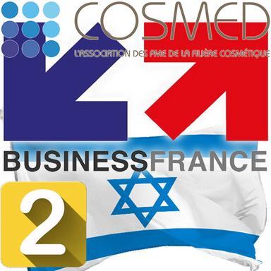 Logo Business France, Logo Cosmed, drapeau Israël