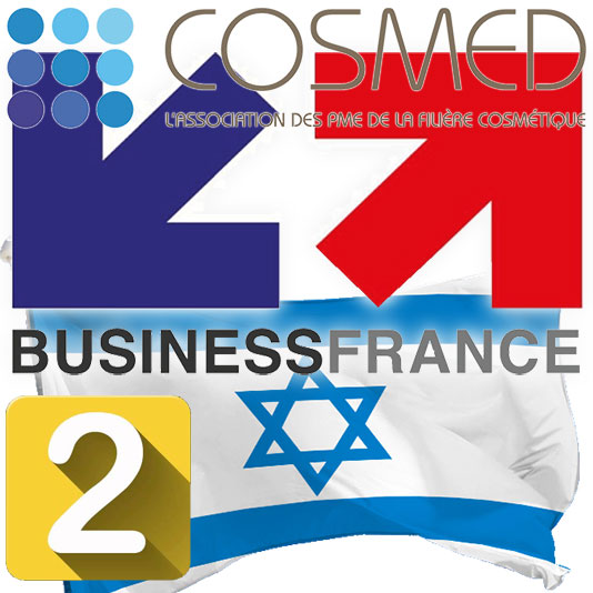 Business France Logo, Cosmed Logo, Israeli flag