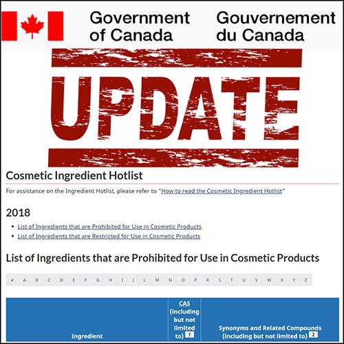 Update of Cosmetic Ingredient Hotlist