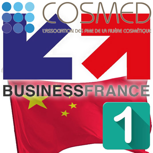 Business France & Cosmed Logos with Chinese flag