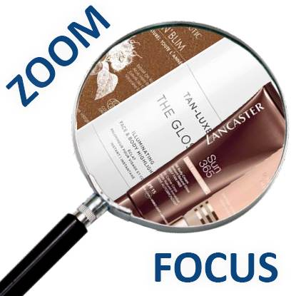 Magnifying glass containing cosmetics