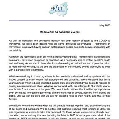 """""""Reportez les événements cosmétiques à 2021 !"""", demande l'EFfCI"""