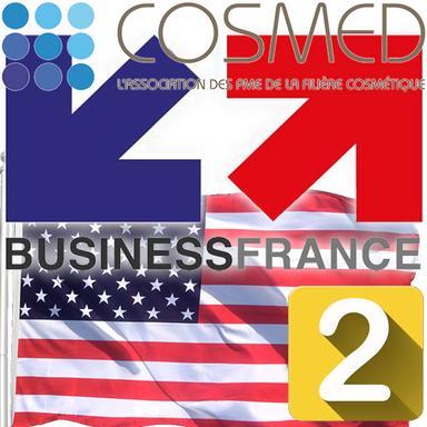 Logos Business France et Cosmed avec le drapeau américan