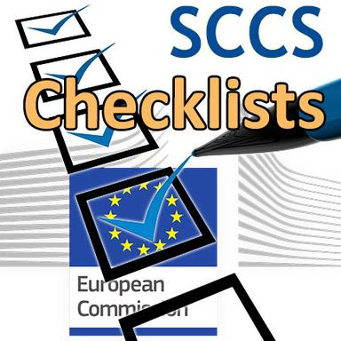 Drapeau de la Commission européenne et symbole d'une checklist