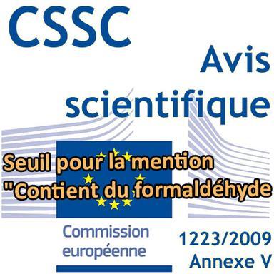 """Seuil pour la mention """"Contient du formaldéhyde"""" : Avis scientifique du CSSC"""