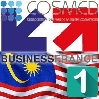 Logos Business France et Cosmed avec le drapeau malaisien