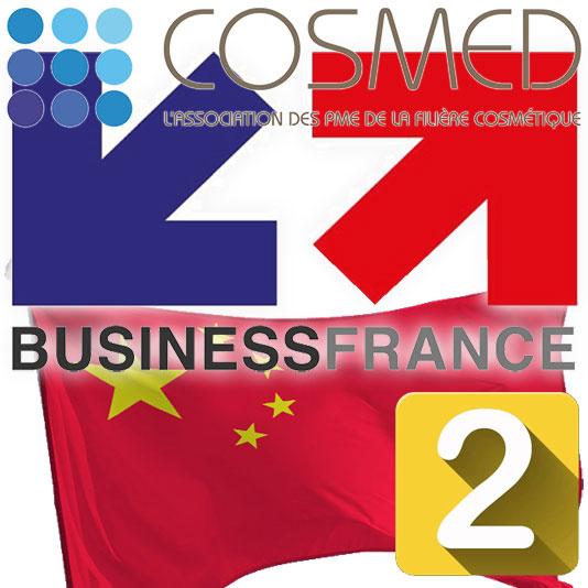 Logos Business France et Cosmed avec le drapeau chinois