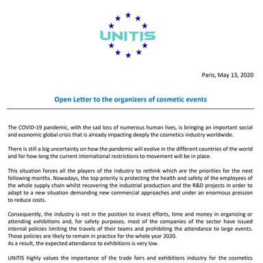Lettre ouverte d'UNITIS aux organisateurs d'événements cosmétiques