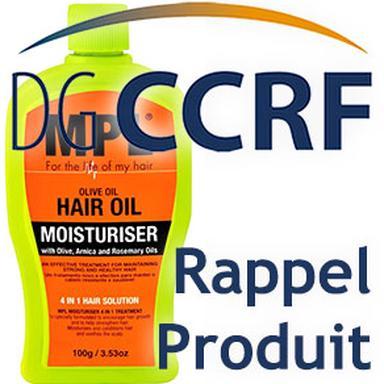 Rappel d'une huile hydratante pour cheveux de marque MPL