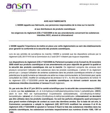 HICC, atranol et chloroatranol : l'ANSM rappelle les exigences réglementaires