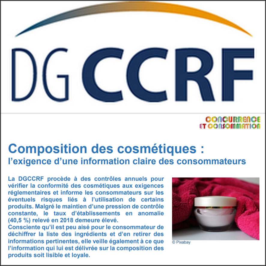 DGCCRF: Publication of the results of the2018cosmetic surveys